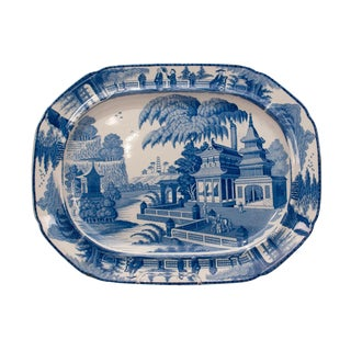 1820s Large English Blue and White Platter in the Chinese Style For Sale