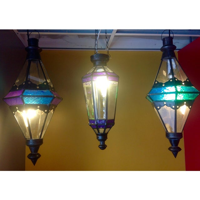 Boho Chic Stained Glass Pendant Lamps - Set of 3 - Image 2 of 6