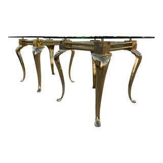 Pair of Polished Brass Cabriole Leg Modernist End Tables For Sale