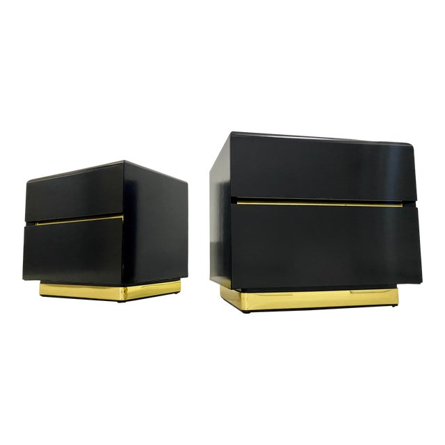 Lane Black Lacquer & Brass Side Tables - a Pair For Sale