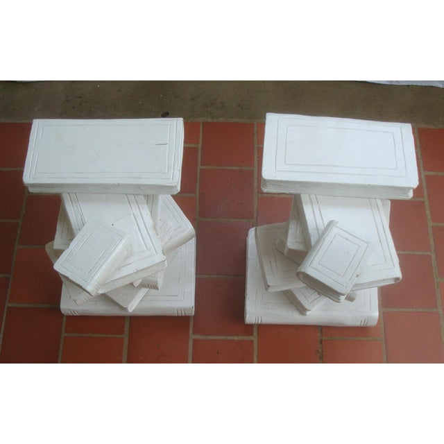 Modern Trompe l'Oeil Stacked Library Book Pedestals for Side Tables, Coffee Table or Bench, a Pair For Sale - Image 3 of 7
