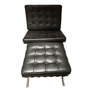 Vintage Mid-Century Black Leather Barcelona Chair and Ottoman For Sale