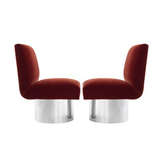 Milo Baughman Swivel Chairs on Drum Nickel Bases Preview