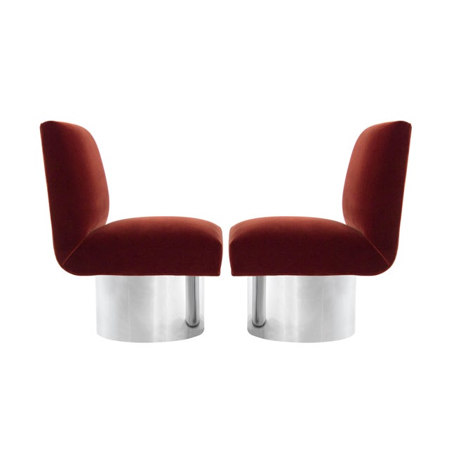 Set of Milo Baughman for Thayer Coggin chairs with return-swivel system on tall drum nickel bases, circa 1960s. Newly...