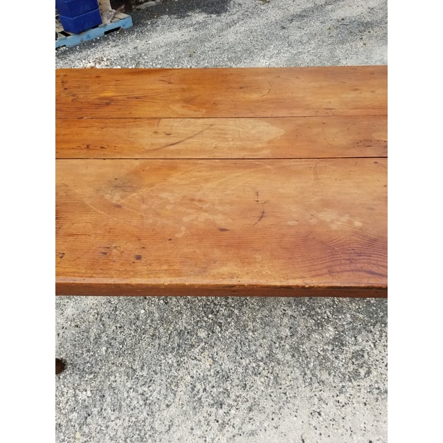 Antique Pine Farm Table For Sale In San Antonio - Image 6 of 12