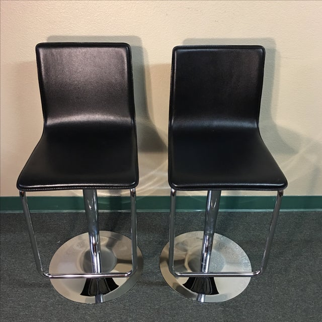 Leather & Polished Steel Adjustable Bar Stools - a Pair - Image 3 of 10