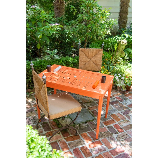 Oomph Backgammon Outdoor Table, Blue For Sale In New York - Image 6 of 7
