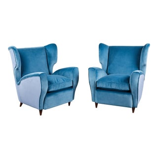 Pair of Italian Mid-20th Century Wingback Chairs in Two Tones of Velvet For Sale