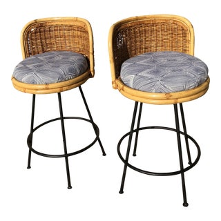 1960s Vintage Seng of Chicago Wicker & Iron Stools - A Pair For Sale