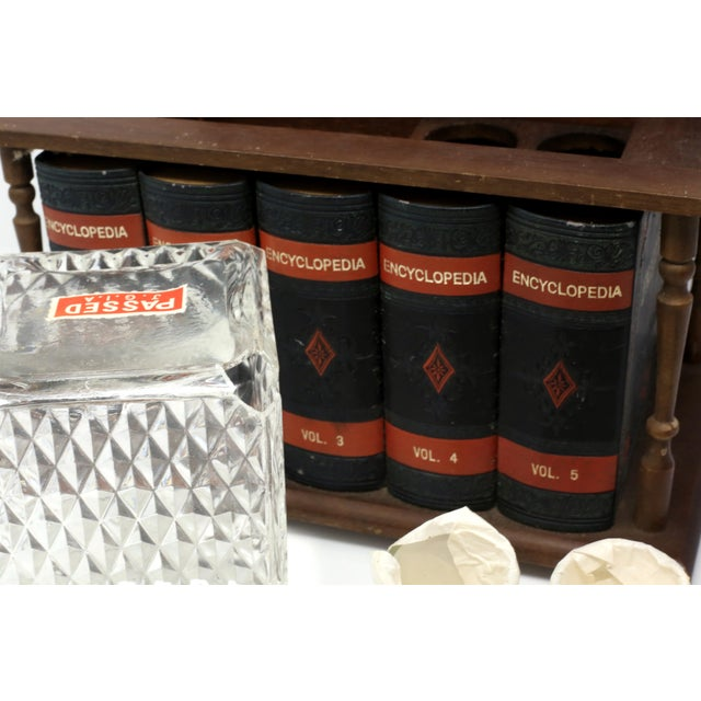 Vintage Japanese Wood and Leather Library Liquor Box With Original Glassware For Sale - Image 9 of 12