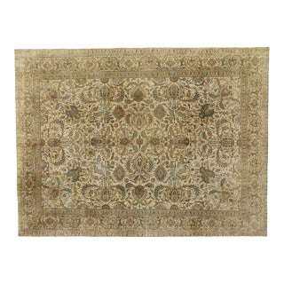 Vintage Tabriz Persian Rug With Warm, Neutral Colors - 09'06 X 12'09 For Sale