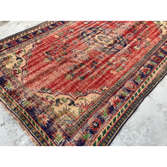 Textile 1960s Vintage Turkish Oushak Handmade Carpet - 5′10″ × 9′1″ For Sale - Image 7 of 10