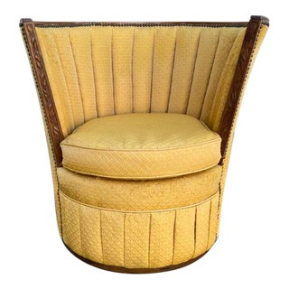 Art Deco English Channel Back Barrel Chair For Sale