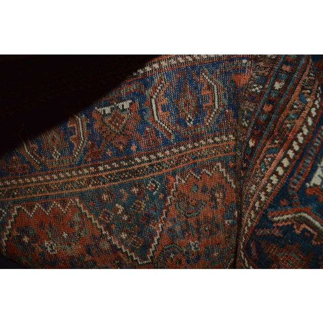 """Distressed Antique Persian Tribal Rug - 3'7"""" X 4'9"""" - Image 9 of 9"""
