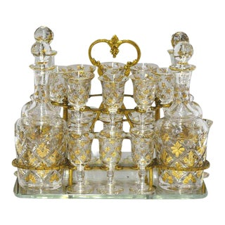 19th Century Bronze & Glass Cave À Liqueurs - 20 Pieces For Sale