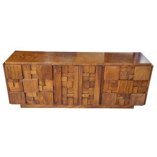 1970s Brutalist Lane Paul Evans Walnut Lowboy 9 Drawer Triple Dresser For Sale