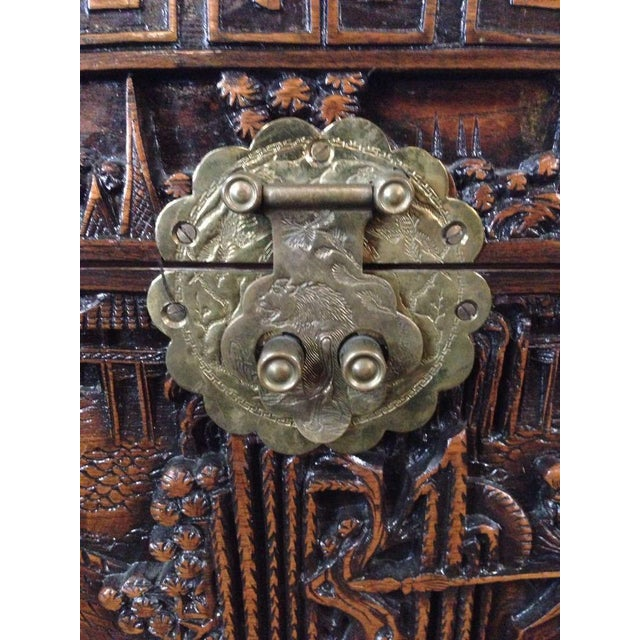 Chinese Carved Teak & Camphor Wood Chest - Image 4 of 11