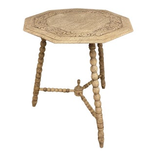 Antique Carved Nine-Sided Lamp Table For Sale