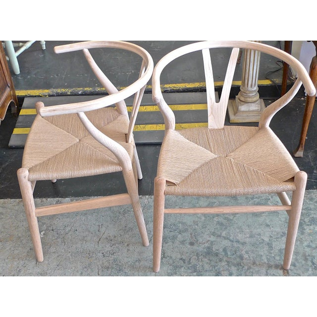 Contemporary Danish 1960s Style Wishbone White Oak Riff Wood Arm Chairs - Set of 6 For Sale In Los Angeles - Image 6 of 13