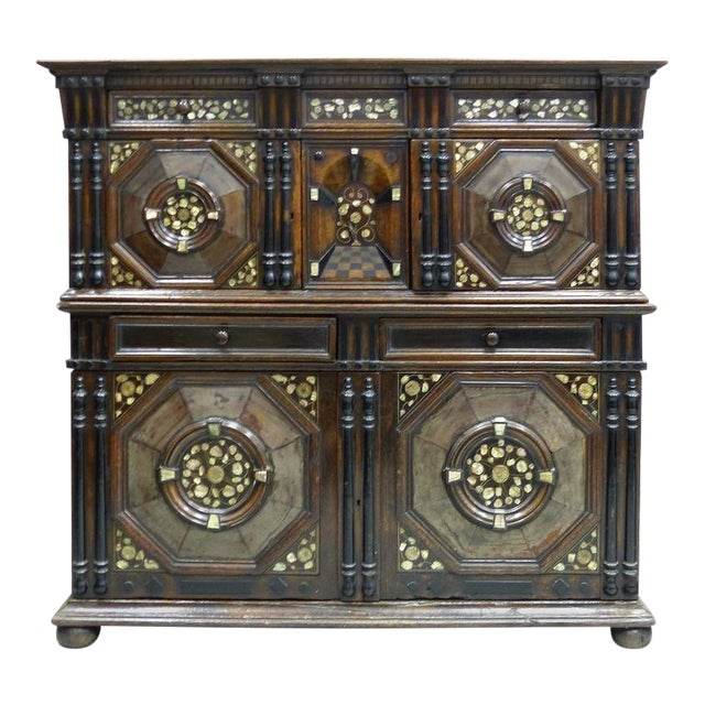 Restoration Charles II English Cabinet circa 1660-1685, Mother-of-Pearl Inlays For Sale