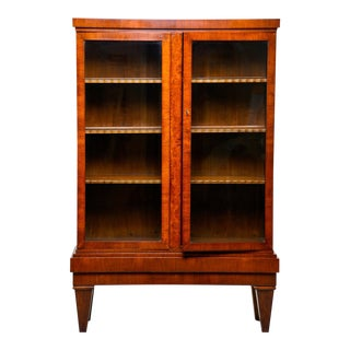 French Art Deco Tall Mahogany Bookcase Cabinet With Glass Doors For Sale