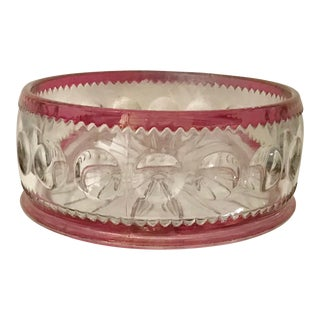 Clear and Hot Pink Vintage Glass Bowl / Candy Dish For Sale