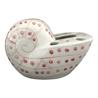 Pink and White Nautilus Ceramic Flower Frog Vase For Sale
