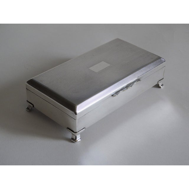 Contemporary Art Deco English Silver Plate Table Box For Sale - Image 3 of 9