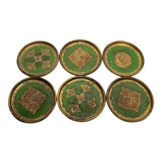 20th Century Italian Green Detailed Giltwood Coasters - Set of 6 For Sale