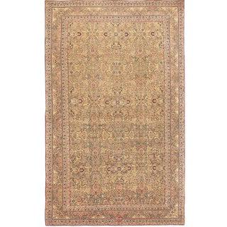 Antique Persian Kerman Light Brown Background Carpet - 11′6″ × 17′9″ For Sale
