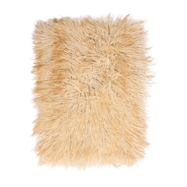 Vintage Mid-Century Tulu Cream Beige-Brown Shag Wool Rug For Sale