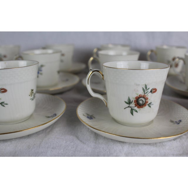 Traditional Royal Copenhagen Cups & Saucers - Service for 12 For Sale - Image 3 of 8