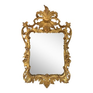 Antique Rococo Italian Gilt Carved Wall Mirror With Fleur De Lis For Sale