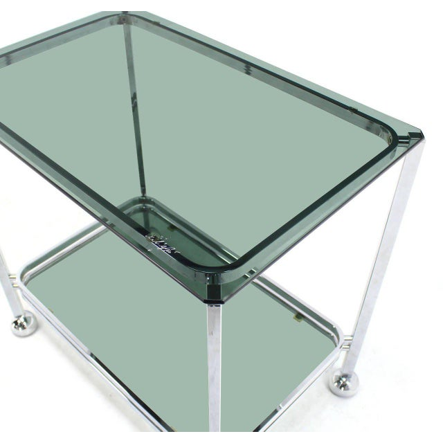 Chrome Tinted Smoked Glass Rolling Tea Cart With Concealed Wheels For Sale - Image 6 of 7