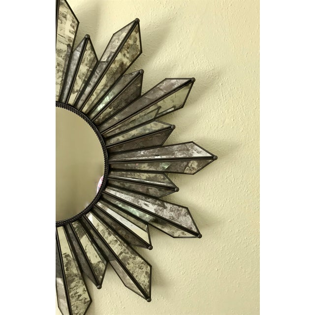 1990s Sunburst Soleil Mirror With Angled Antiqued Mirror Rays For Sale - Image 5 of 9