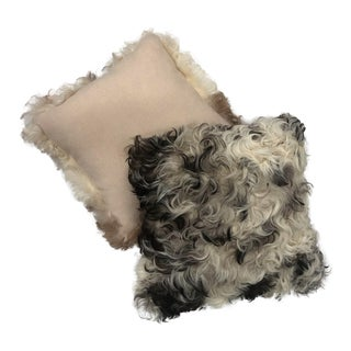 Gambrell Renard Cookies and Cream Curly Sheepskin Pillows - a Pair For Sale