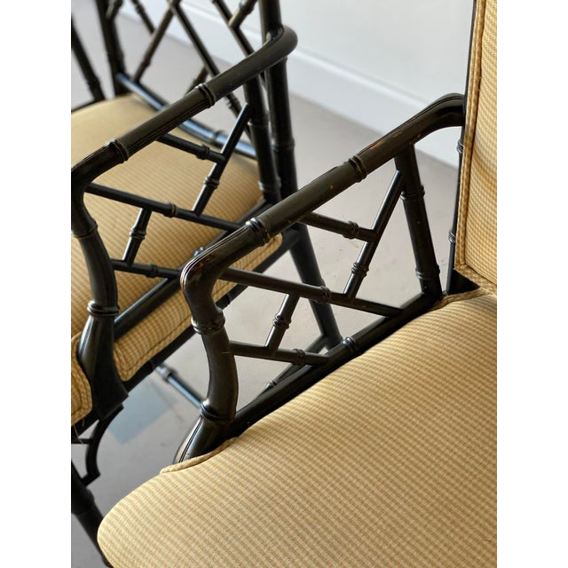 Chippendale Mid 20th Century Faux Bamboo Regency Armchairs - a Pair For Sale - Image 3 of 9