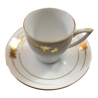 20th Century Asian Expresso Demitasse White and Gold Leaf Design Cup & Saucer - 2 Pieces For Sale