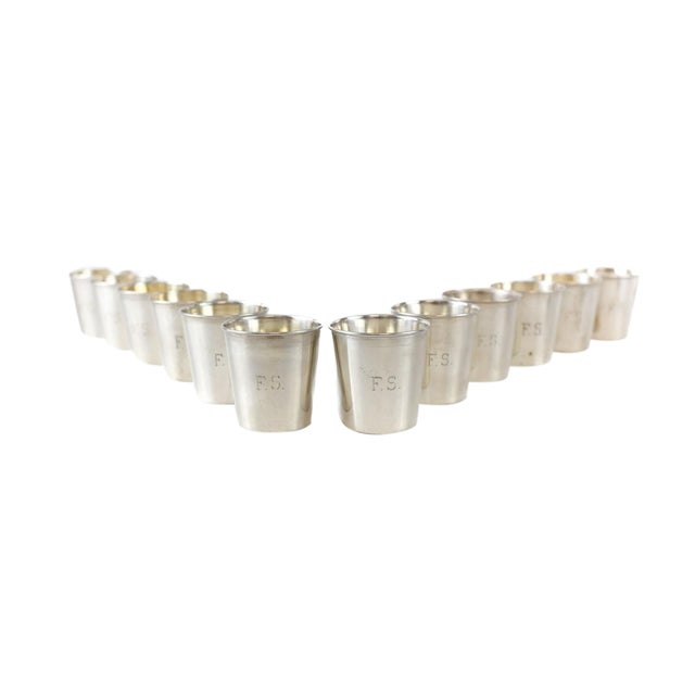 JB & SM Knowles Sterling Silver Shot Jigger Cups #G58 by Udall & Ballou, 1920 - Set of 12 For Sale