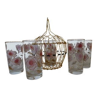 50's Libbey Pink Rose Glasses & French Basket - Set of 6 For Sale