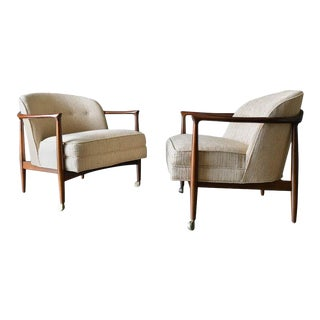 Finn Andersen for Selig Denmark Sculpted Barrel Back Lounge Chairs, Circa 1960 For Sale