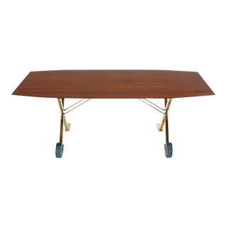 Mid-Century Modern Brass X Base on Wheels Dining Table For Sale