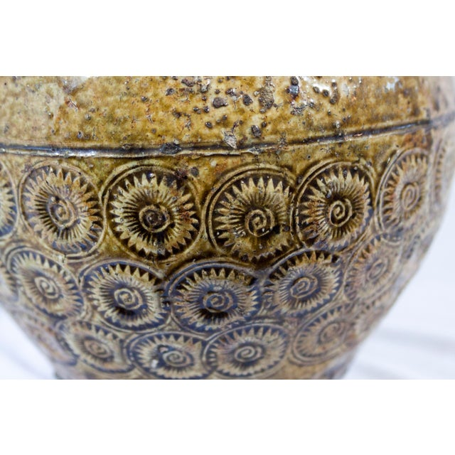 Antique 19th Century Thai Pottery Olive Green Sunburst Floral Motif Vessel For Sale In Chicago - Image 6 of 7