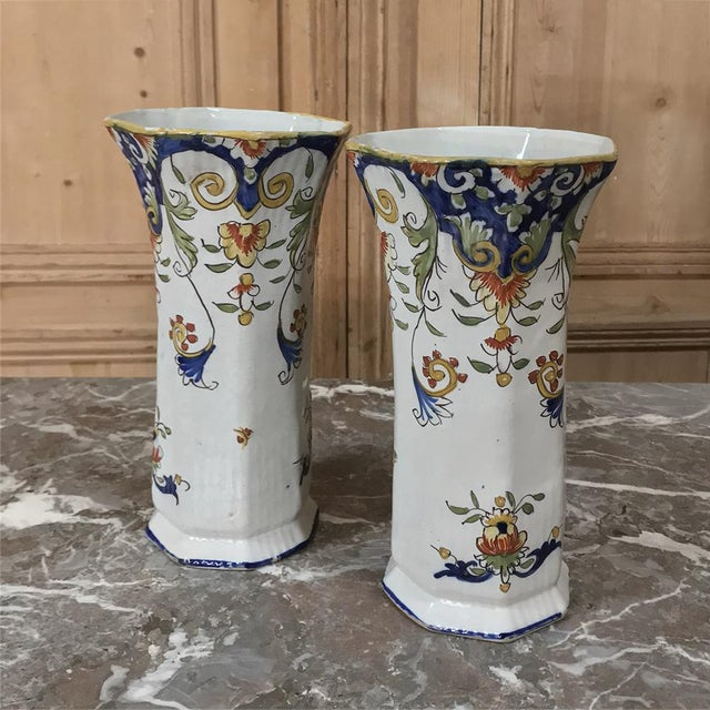 Hand-painted Pair 19th Century French Colorful Faience Vases were crafted in the storied city of Rouen located in the...