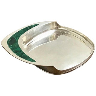 Midcentury Cartier Sterling and Malachite Wine Coaster For Sale
