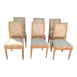 Late 20th Century Vintage French Stripped Carved Dining Chairs- Set of 6 For Sale