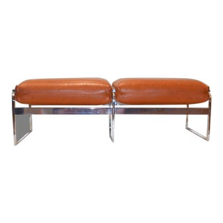 1970s Vintage Milo Baughman Style Chrome Padded Bench- a Pair For Sale