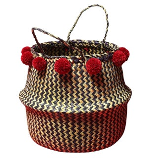 Borneo Handwoven Zig-Zag Belly Basket With Cranberry Pom-Poms For Sale