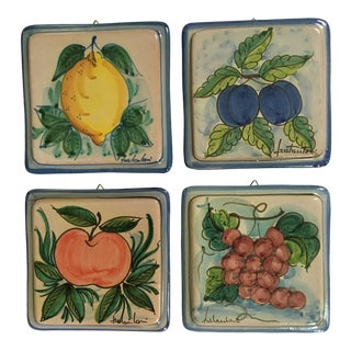 Vintage Vietri Italian Hand Painted Terra-Cotta Tile Plaques/Trivets - Set of 4 For Sale