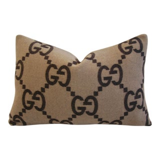 """Custom Tailored Gucci Cashmere & Velvet Feather/Down Pillow 23"""" X 16 For Sale"""